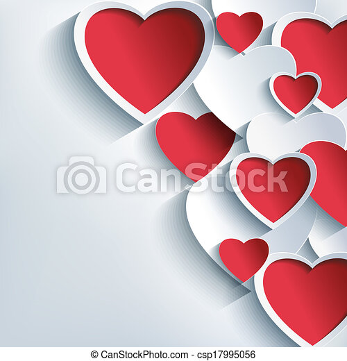 Stylish Valentines day background with 3d red and gray hearts - csp17995056