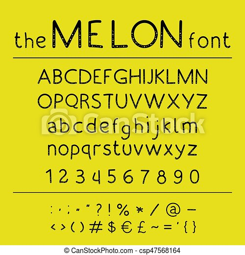 Stylish vector abc  Retro cute hand drawing font - Melon
