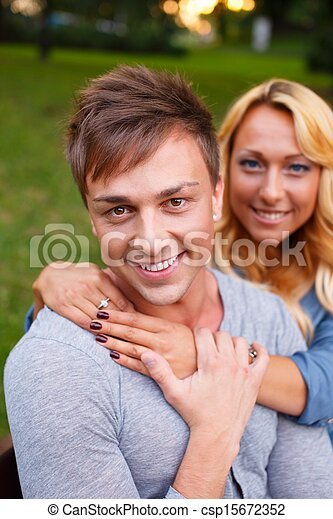 Stylish young couple in a park on summer day - csp15672352