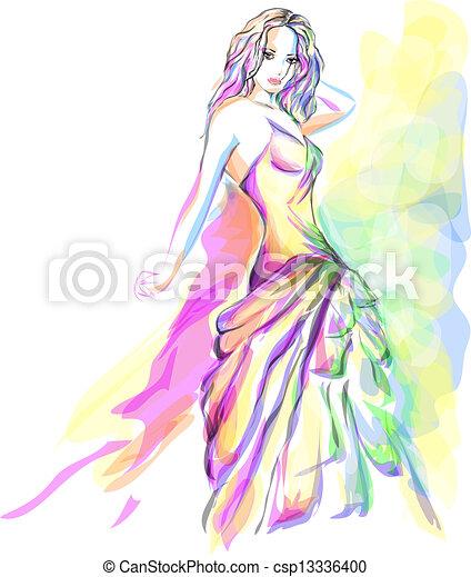 Stylish young woman portrait - csp13336400