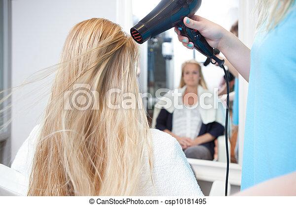 Stylist Drying Womans Hair in Beauty Salon - csp10181495