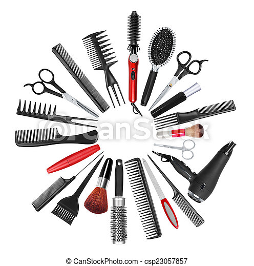 styliste, maquillage, collection, cheveux, professionnel, outils - csp23057857