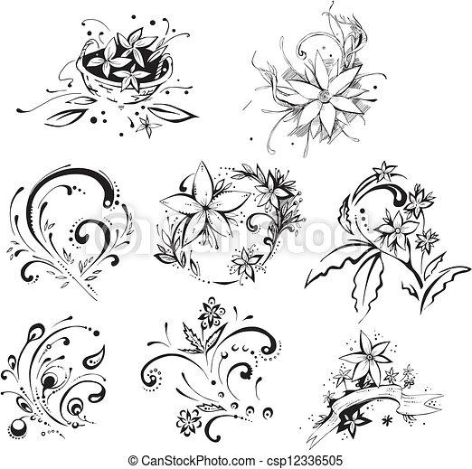 Stylistic Decorative Flower Elements Stylistic Flower