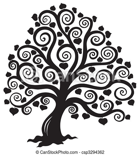 stylized, 나무, 실루엣 - csp3294362