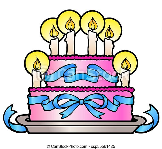Strange Stylized Birthday Cake Fancy Birthday Cake With Six Candles Funny Birthday Cards Online Elaedamsfinfo