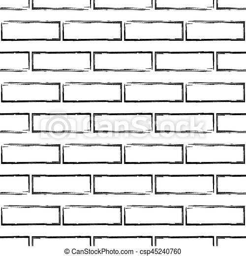 Stylized Brick Wall Pattern Bw