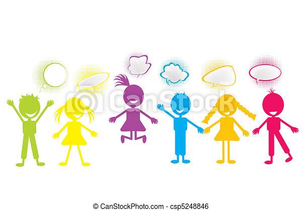 stylized, bubblar, färgad, pratstund, barn - csp5248846