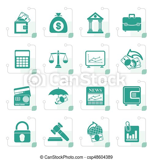 Stylized Business, finance and bank icons - csp48604389