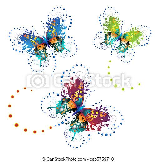 Stylized butterflies  - csp5753710