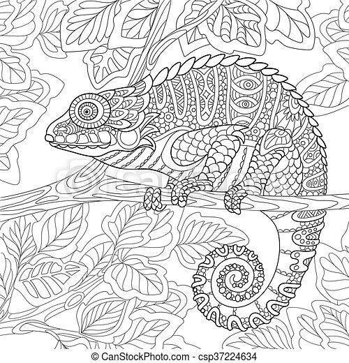 Stylized Chameleon Animal Cartoon Sitting On A