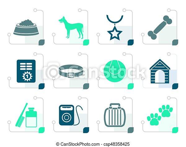 Stylized dog accessory and symbols icons - csp48358425