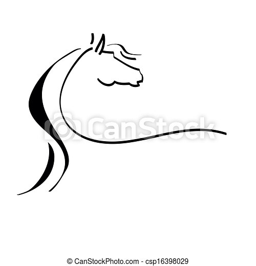 stylized drawing of a horse - csp16398029