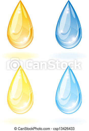 Stylized drop of oil and water. - csp13426433