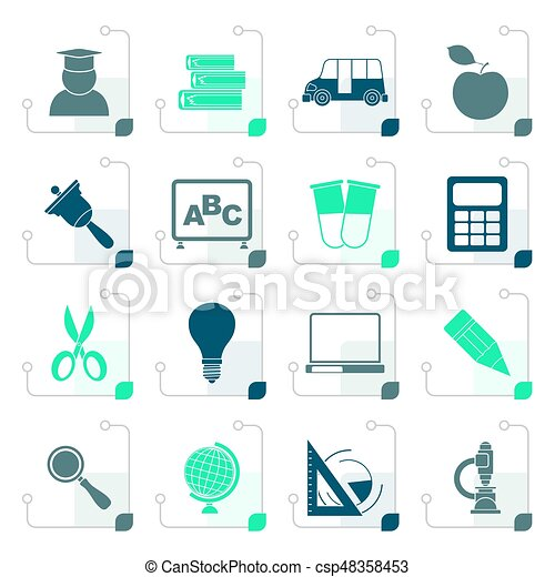 Stylized education and school icons - csp48358453
