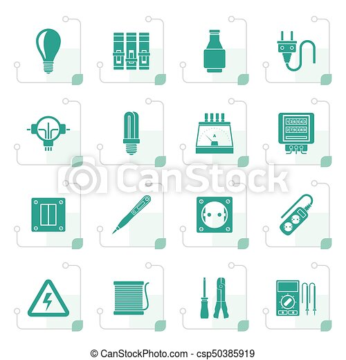 Stylized Electrical devices and equipment icons - csp50385919