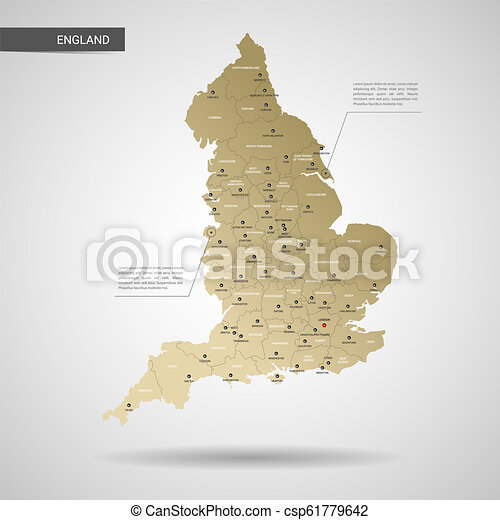 3d Map Of England.Stylized England Map Vector Illustration
