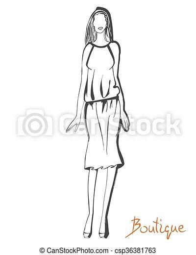 stylized fashion model figure stylized ink fashion model figure