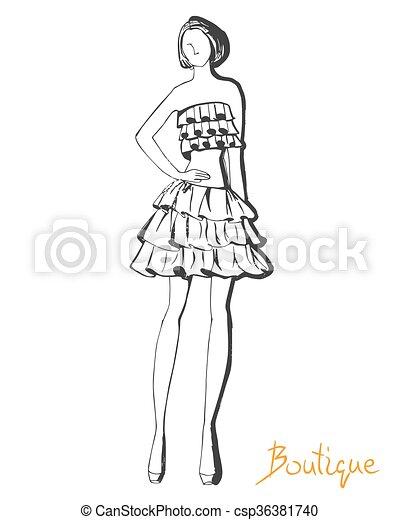 Stylized Fashion Model Figure Stylized Ink Fashion Model Figure Sketch Boutique Logo Concept In Outline Hand Drawing