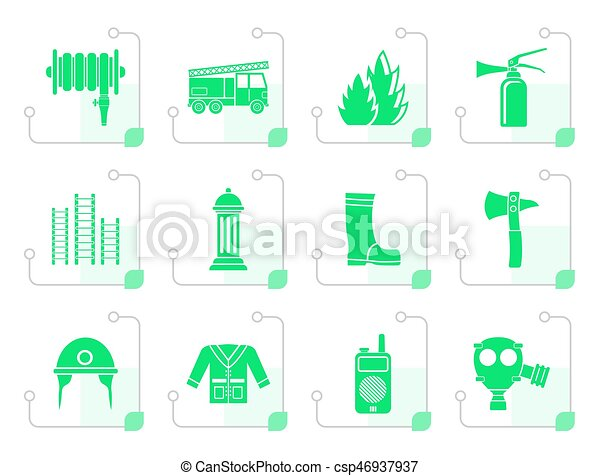 Stylized fire-brigade and fireman equipment icon - csp46937937