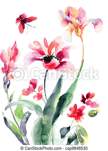 Stylized flowers, watercolor illustration  - csp9848530