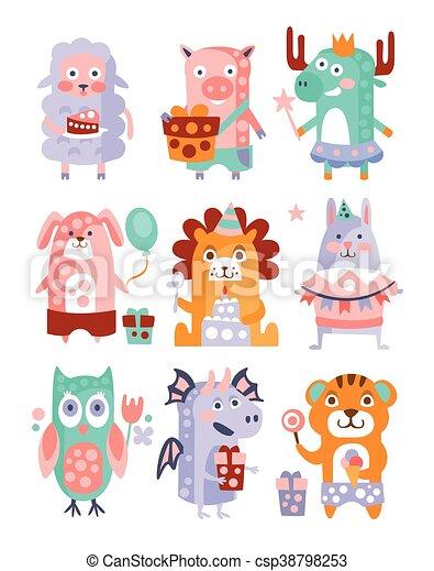 Stylized Funky Animals Birthday Party Sticker Set - csp38798253