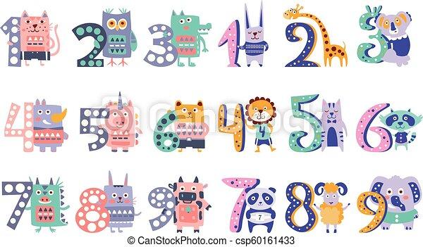 Stylized Funky Animals Standing Next To Digits Sticker Set - csp60161433