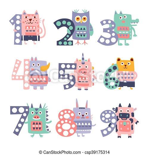Stylized Funky Animals Standing Next To Digits Sticker Set - csp39175314