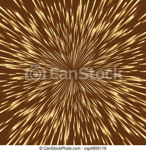 Stylized golden fireworks, light burst with the center in the middle of the square image. - csp4800116