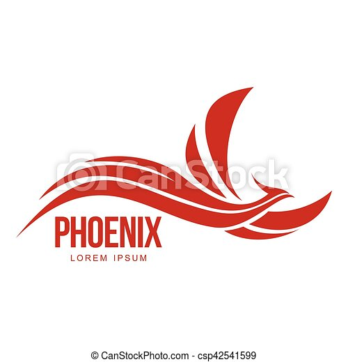 Stylized Graphic Phoenix Bird Flying With Expanded Wings Logo