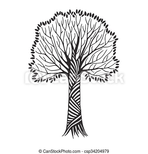 Stylized Hand Draw Vintage Tree With Black Leaves On White Background Abstract Vector Illustration