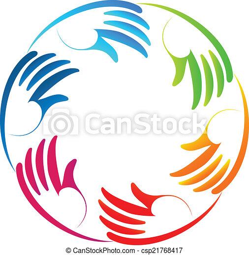 Stylized hands teamwork logo - csp21768417