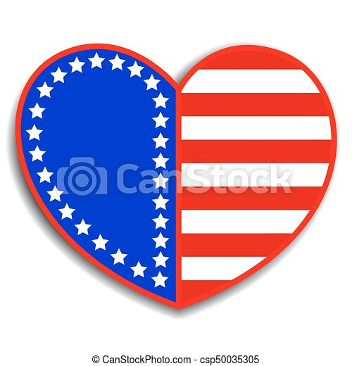 Stylized Heart With American Symbols Patriotic Stylized Heart