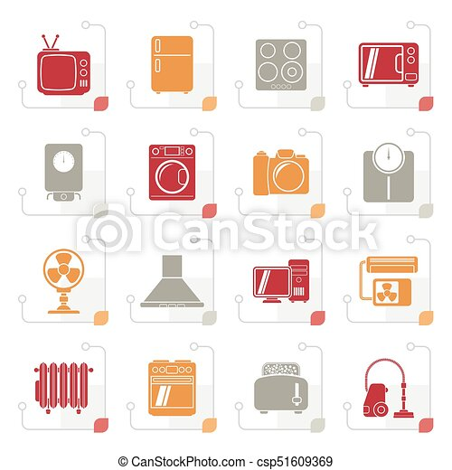 Stylized home appliances and electronics icons - csp51609369
