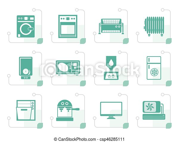 Stylized Home electronics and equipment icons - csp46285111