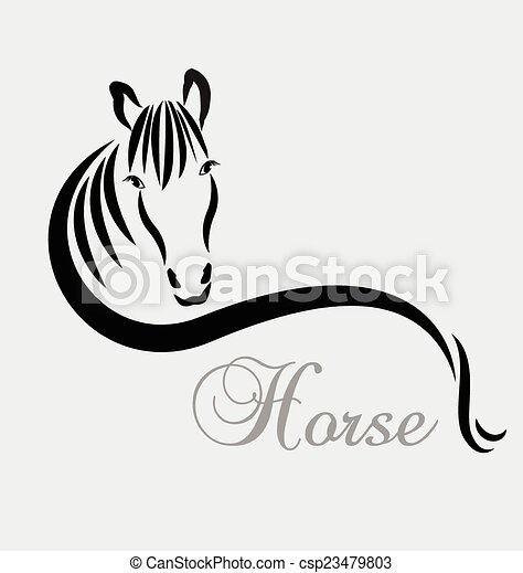Stylized horse logo vector - csp23479803