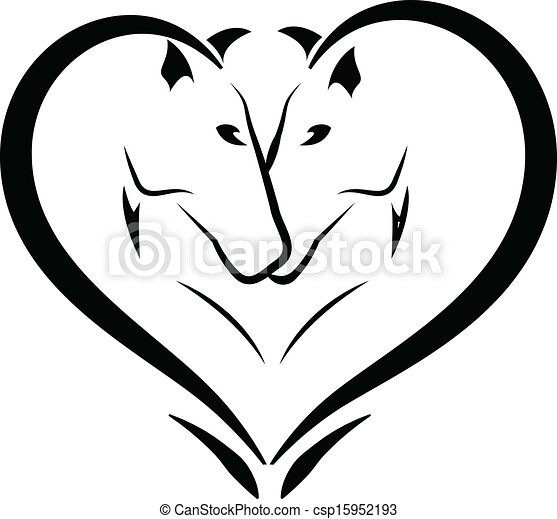 Stylized horses in love logo  - csp15952193