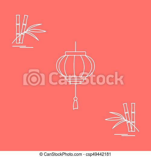 stylized icon of the chinese lantern and bamboo travel and leisure