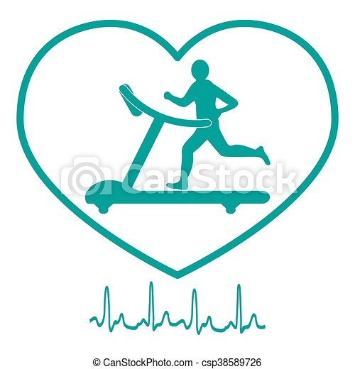 Stylized icon of the man jogging on a treadmill within the heart icon and heart rhythm - csp38589726