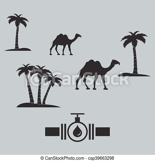 Stylized icon of the pipe with a valve and fuel drops with palm trees and camels - csp39663298