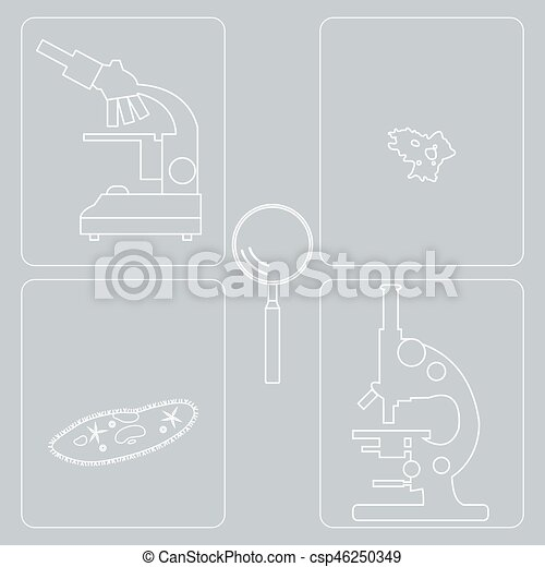 Stylized Icons Of Microscopes Magnifier Amoeba Ciliate Slipper