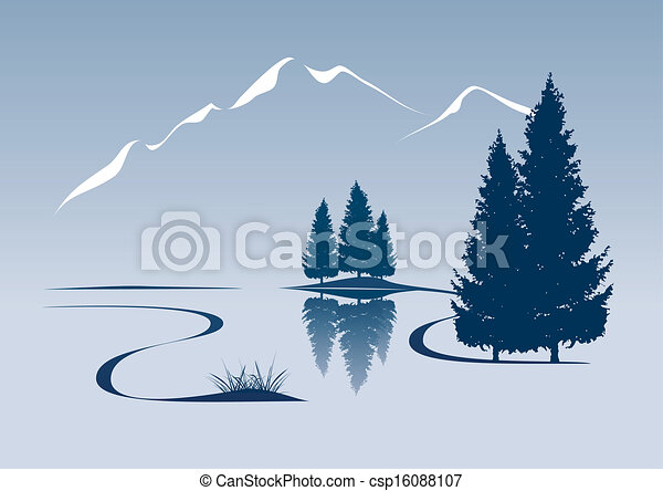 stylized illustration showing a river and mountain landscape - csp16088107