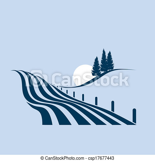 stylized illustration showing an agrarian landscape - csp17677443