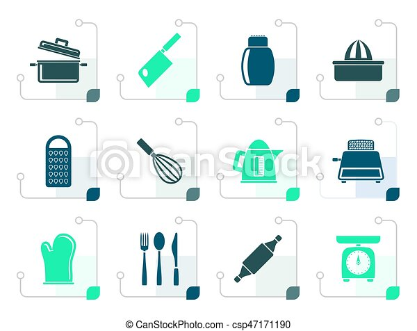 Stylized Kitchen and household Utensil Icons - csp47171190