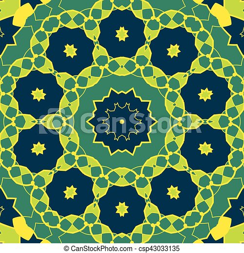 Stylized Mandala Green Colour. Round Ornamental Pattern. Geometric seamless circle element made in vector. Spiritual or ritual symbol of Indian religion - csp43033135