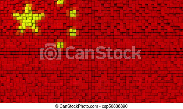 Stylized mosaic flag of China made of pixels, 3D rendering - csp50838890