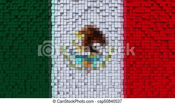 Stylized mosaic flag of Mexico made of pixels, 3D rendering - csp50840537