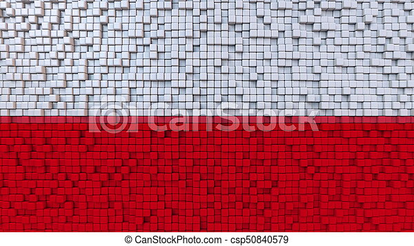 Stylized mosaic flag of Poland made of pixels, 3D rendering - csp50840579