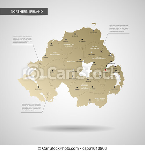 Stylized Northern Ireland Map Vector Illustration Stylized Vector