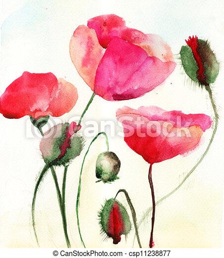 Stylized Poppy flowers illustration  - csp11238877
