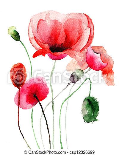 Stylized poppy flowers illustration stylized poppy flowers illustration mightylinksfo